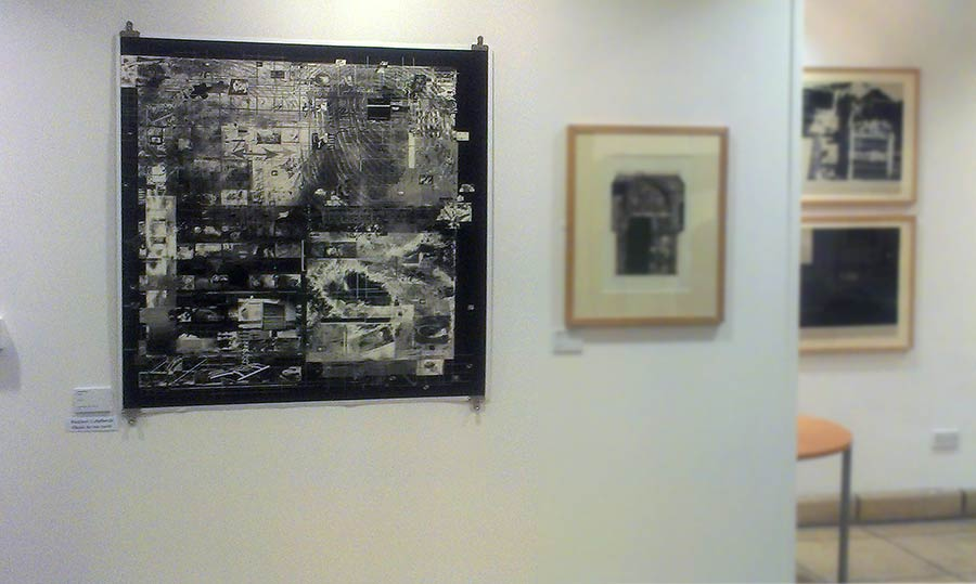 Sandra Crisp: (left) [Imprint] Soft_Terrain (Inverted) 2012 Archival ink Jet print on Hahnemule rag paper 110 cm x 110 cm Installation View - Print International exhibition 2013 (Printmaking Today prize winner) Yale College, Wrecsam, N.Wales