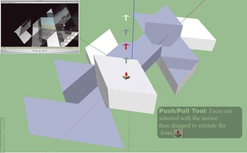 ©Sandra Crisp Using SketchUp's 'Push/Pull' tool to elevate and transform flat surfaces into 3D objects. This model, which appearsd in final scene 2 ( see top left hand corner of the diagram) is based on **Buckminster Fuller's Dymaxion world map projection.